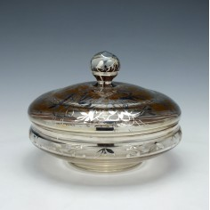 French Silver Overlaid Lidded Glass Dish c1900