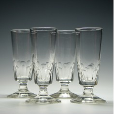 Four 19th Century Slice Cut Ale Glasses