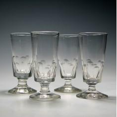 Four 19th Century Slice Cut Dram Glasses
