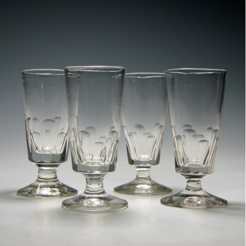 Four 19th Century Slice Cut Dram Glasses