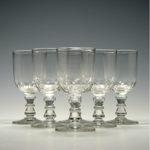 Six Victorian Sherry or Port Glasses c1870