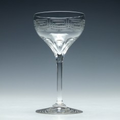 Edwardian Greek Key Engraved Champagne Glass