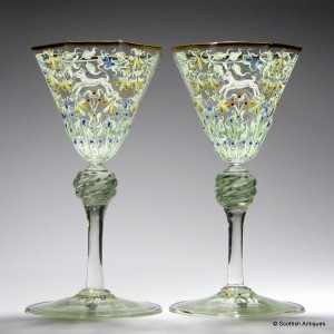 Pair of Salviati Wine Glasses Enamelled by Moser c1900
