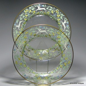 Pair of Moser Enameled Glass Plates By Salviati c1900