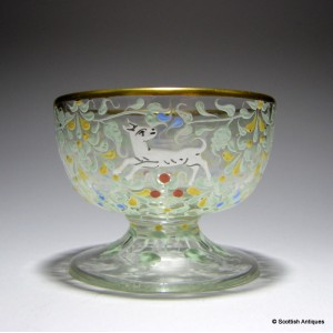 Salviati Glass Bowl Enamelled by Moser c1900