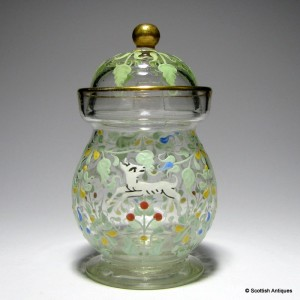 Salviati Lidded Condiment Jar Enamelled by Moser c1900