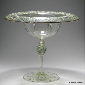Tall Enamelled Salviati Moser 'Canine and Foliate' Standing Bowl c1900