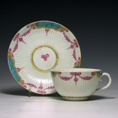 Worcester Porcelain Teacup & Saucer In the Sevres Style c1772-75