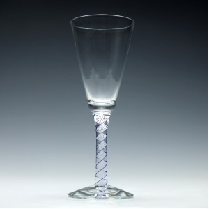 A Blue and White Scottish Colour Twist Wine Goblet