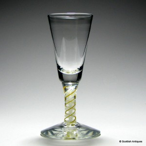 Scottish Canary Yellow Colour Twist Dram Glass