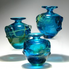 Three Early Signed Mdina 'Eared' Glass Vases c1975