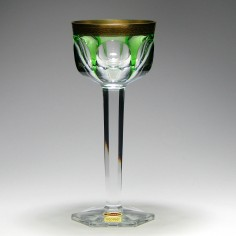Moser Lady Hamilton Flashed Green Wine Glass