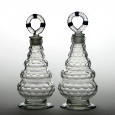 Two Rare Screw Stopper Beehive Spirit Decanters c1800