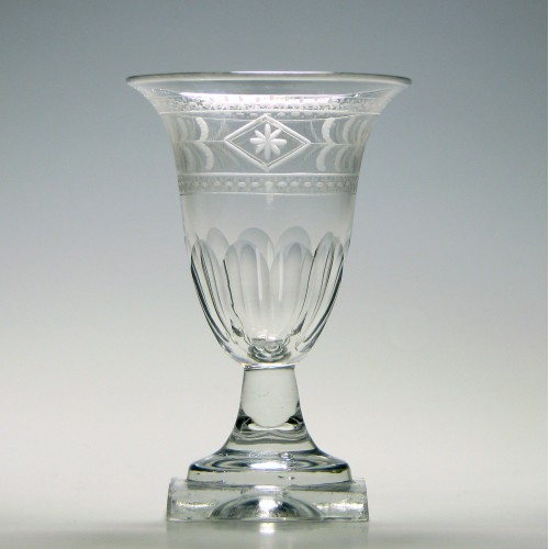 Engraved Victorian Square Based Port Wine Glass c1850