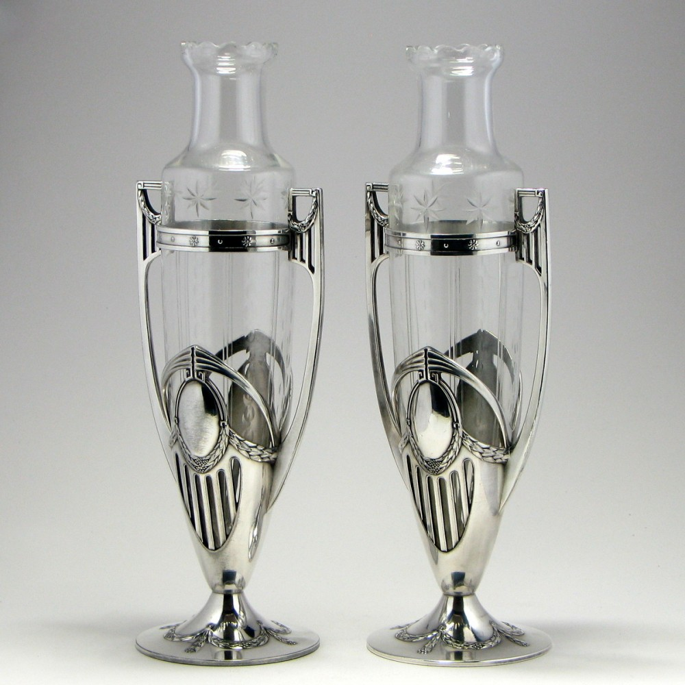 Pair of tall wmf silver art nouveau vases pair of tall wmf art nouveau vases 1910 reviewsmspy