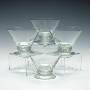 Four Rene Lalique Dampierre Pattern Champagne Glasses c1931