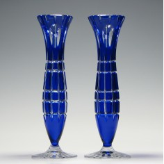 Pair of French Cut Glass Stem Vases c1910