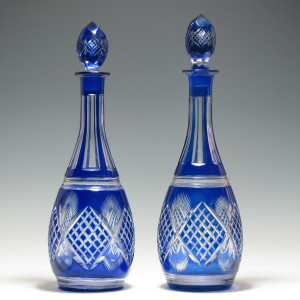 Pair of 20th Century Blue Crystal Glass Decanters