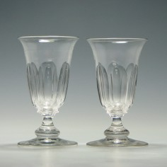 Pair 19th Century Slice Cut Jelly Glasses