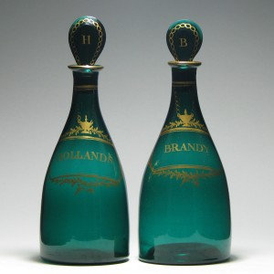Pair of 18th Century Green Decanters c1810