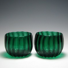 Pair of Victorian Ribbed Green Finger Bowls  c1850