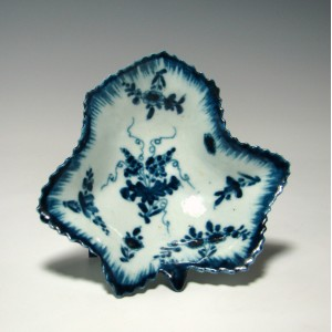 First Period Worcester Blue & White Pickle Dish c.1765