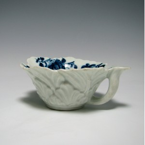 First Period Worcester Blue & White Butterboat Mansfield Pattern c1760