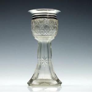 Edward VII Silver Topped Glass Hyacinth Vase 1907