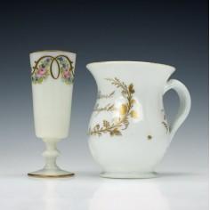 19th Century English Milk Glass Tankard With Paris Decorated Ale Glass