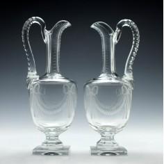 Pair of Engraved Glass Amphora Claret Jugs c1870