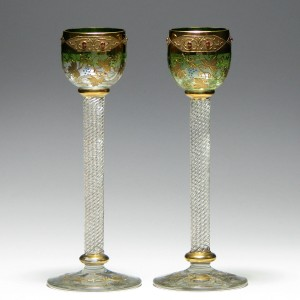 Pair of Rare Gilded Moser Liqueur Glasses 1891-95
