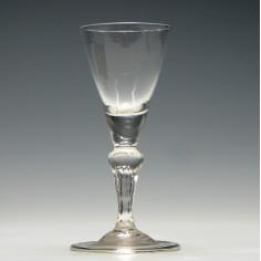 Hollow Six Sided Pedestal Stem Wine Glass c1740