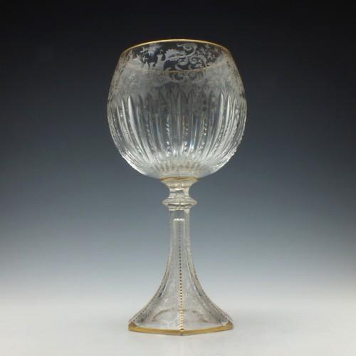 Large Engraved Bohemian Chalice c1880
