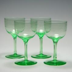 Four Engraved Uranium Wine Glasses c1900