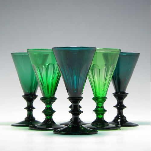 Six 19th Century Green Wine Glasses c1820