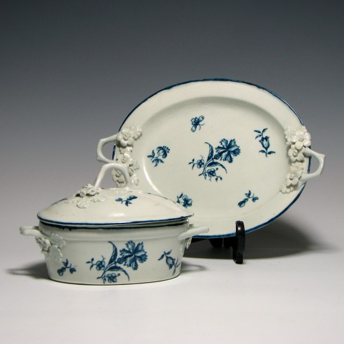 First Period Worcester Porcelain Butter Tub c1780
