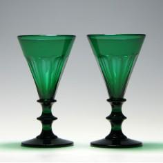 Pair of Green Wine Glasses c1830