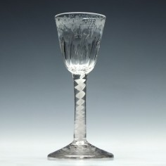 Engraved Georgian Petal Moulded Single Series Opaque Twist Wine Glass c1760