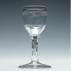Order Of The Garter Facet Cut Stem Wine Glass c1790