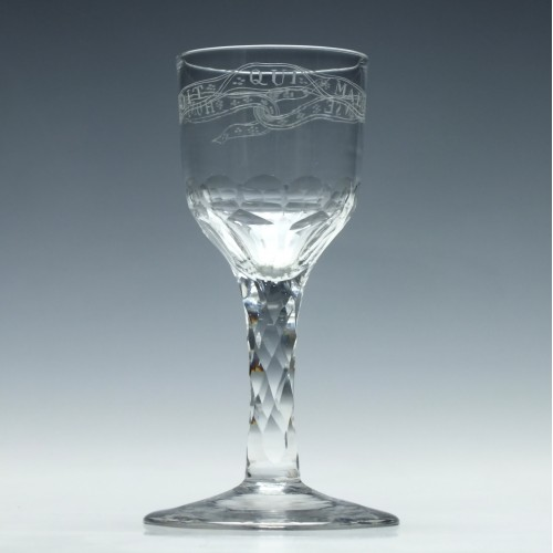Engraved Facet Cut Stem Wine Glass c1790