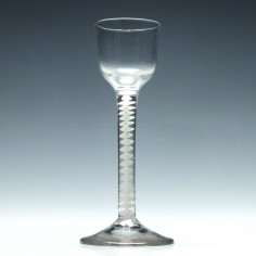 Georgian Cordial Glass With a Single Series Opaque Twist Stem c1760