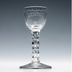 Rare Via Crucis Via Lucis Facet Cut Stem Wine Glass c1780