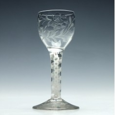 Jacobite Sympathy Engraved Opaque Twist Wine Glass c1760