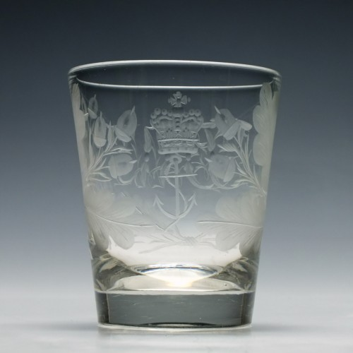 Georgian Tumbler Engraved With Admiralty Insignia c1780