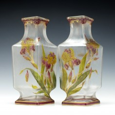 Pair of Large Baccarat Enamelled Vases c1900