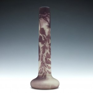 A Very Tall Galle Cameo Wisteria Vase c1900