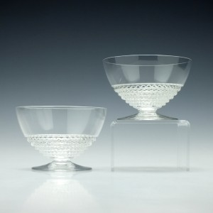 Pair Signed Rene Lalique Nippon Champagne Glasses c1930