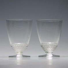 Pair Signed Rene Lalique Nippon Glasses c1930