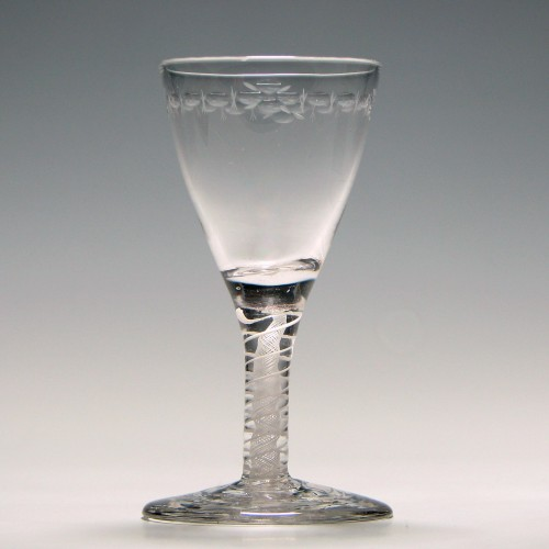 Rare Engraved 18th Century Opaque Twist Dram Glass c1760
