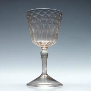 18th Century Diamond Moulded Liege Wine Glass